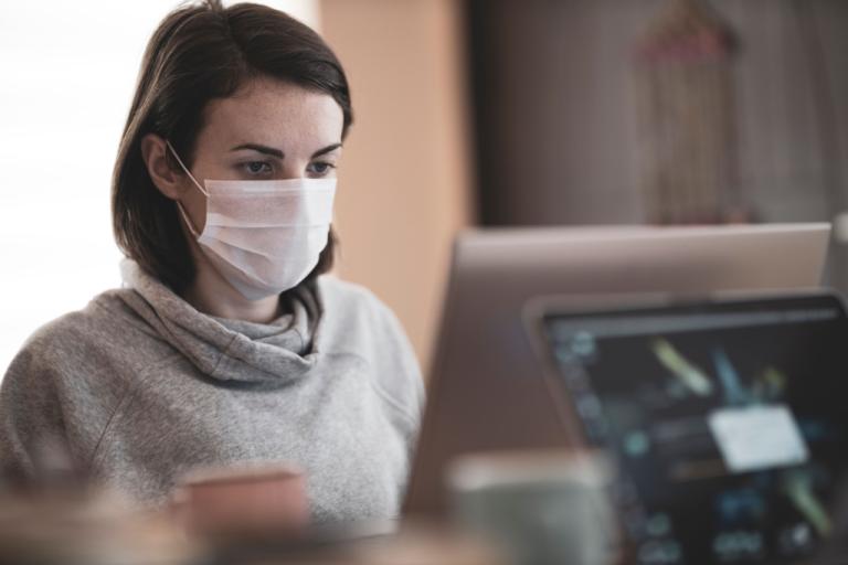 Masked at Computer
